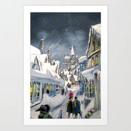 Snowy Hogsmeade Art Print