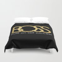 boss Duvet Covers featuring Boss by He Say She Say