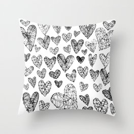 Wire Hearts Pattern on White Throw Pillow