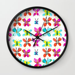 Rainbow of Butterflies Wall Clock