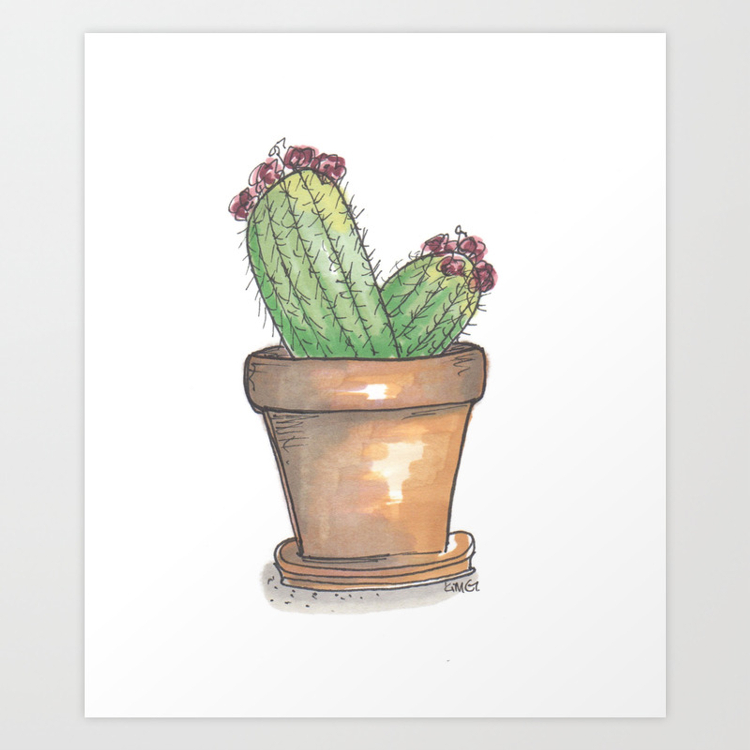 Potted cactus drawing art print