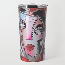 Lady In Pink And Orange Travel Mug