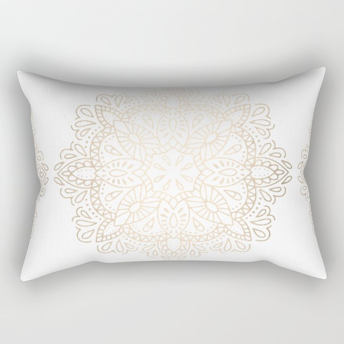 Mandala White Gold Shimmer by Nature Magick Rectangular Pillow