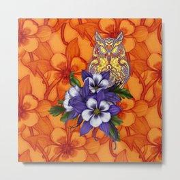 Columbine Paisley Owl Metal Print