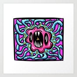 Framed Beasts! Tentacle Germ Wiggle Monster Art Print