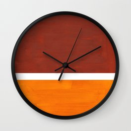 Burnt Sienna Yellow Ochre Rothko Minimalist Mid Century Abstract Color Field Squares Wall Clock