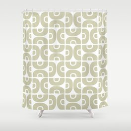 Groovy Mid Century Modern Pattern 731 Sage Shower Curtain