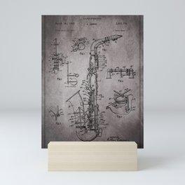 Tenor Saxophone - Antique gray Mini Art Print