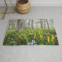 Smoky Mountain National Park -  Wildflower Foggy Forest Rug