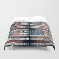 american flag Duvet Covers featuring American flag by Bekim ART