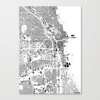 chicago map Canvas Prints featuring Chicago map by Maps Factory