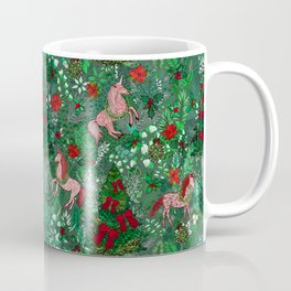 Unicorns in a Christmas Forest Coffee Mug