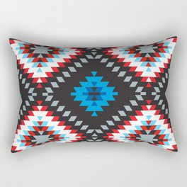 Colorful patchwork mosaic oriental kilim rug with traditional folk geometric ornament. Tribal style Rectangular Pillow