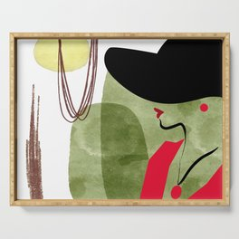 New york fashion week. Pink Lady style. Lady in hat portrait illustration Serving Tray