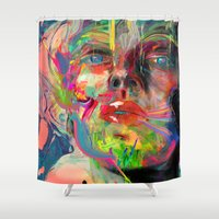 archan nair Shower Curtains featuring Lyka by Archan Nair