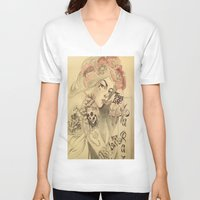mucha V-neck T-shirts featuring mucha cholo by Paolo Zorzenon