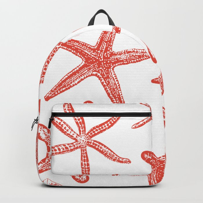 Sea stars hand drawn pattern in red Backpack