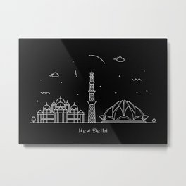 New Delhi Minimal Nightscape / Skyline Drawing Metal Print