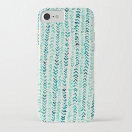 Hand Painted Herringbone Pattern in Mint iPhone Case