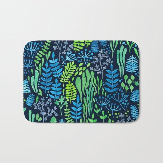 Watercolor floral doodles dark background Bath Mat