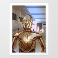 c3po Art Prints featuring C3PO by Santiago Sarquis