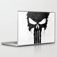 punisher Laptop & iPad Skins featuring Punisher Black by d.bjorn
