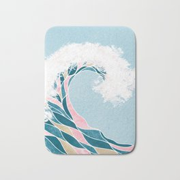 Surf X // Cali Beach Summer Surfing Rip Curl Gold Pink Aqua Abstract Ocean Wave Bath Mat