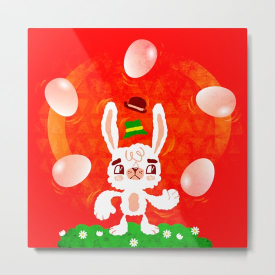Juggling Rabbit Metal Print