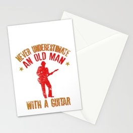 Never Underestimate An Old Man With A Guitar print Stationery Cards