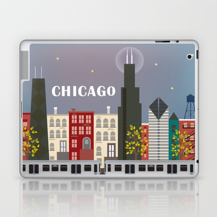 Chicago, Illinois - Skyline Illustration by Loose Petals Laptop & iPad Skin