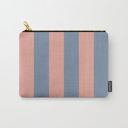 Coral Stripes with Blue Gray Carry-All Pouch