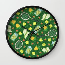 Yellow lemon and ball among tennis rackets and strawberries Wall Clock