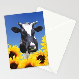 Cow black and white with sunflowers Stationery Cards