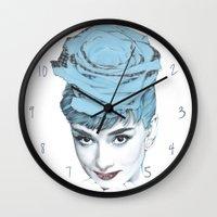 audrey Wall Clocks featuring Audrey by Susana Miranda ilustración