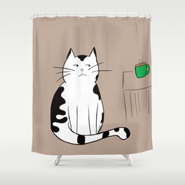Java the Coffee Cat Shower Curtain