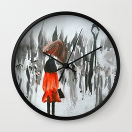 The Girl In The Red Rain Coat (Part 3)  Fine Art Acrylic Painting Wall Clock