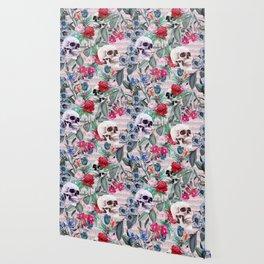 Flowers and Skulls (Pink) Wallpaper