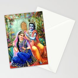 Lord Krishna Putting flowers in Radha's hair Stationery Cards