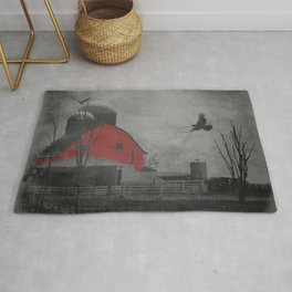 Rustic Red Barn Black White Country Home Decor Farmhouse Art A659 Rug
