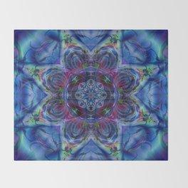 Karlion- Blue Art- Kaleidescopes- Wall Art- Pattern Art- Abstract Art- Fractal Art- Spirograph Throw Blanket