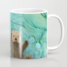Otters Holding Paws, Floating in Emerald Waters Coffee Mug