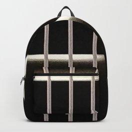 Black and white behind bars Backpack