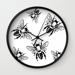 Bees Black Pattern Honeybees Insect Bugs Wall Clock