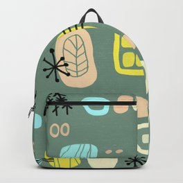 Mid Century Mod Digital Bark cloth Backpack
