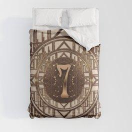Art Deco Burlesque Characters - Number 7 Gold 7 Comforters