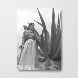 Frida Kahlo and Agave Plant, Black and White, Vintage Art Metal Print