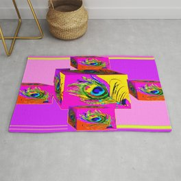 Purple, Pink & Yellow Feather Geometric Abstract Rug