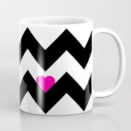 Heart & Chevron - Black/Pink Coffee Mug