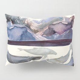 Whales Swiming under the Moutains Pillow Sham