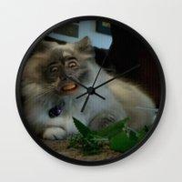 nicolas cage Wall Clocks featuring Nicolas Cage Cat Wants Nip by HiddenStash Art